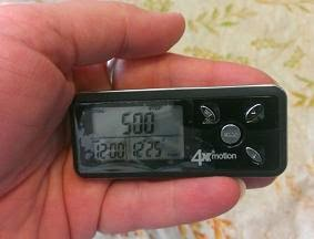 Ozeri 4x3motion Digital Pocket 3D Pedometer  hand size image