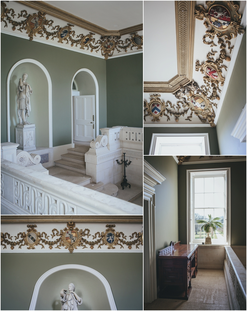 Beautiful green entrance hall with statues
