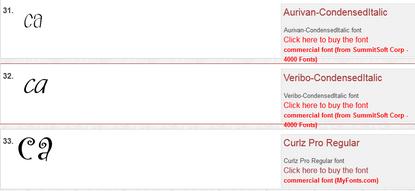 Selanjutnya akan ditampilkan hasil pencarian dari jenis font yang ada.