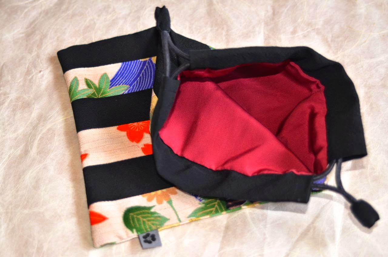 Kinchaku Beutel aus echter japanischer Seide, traditionell, Kimonostoff von Noriko handmade, Japan, Design