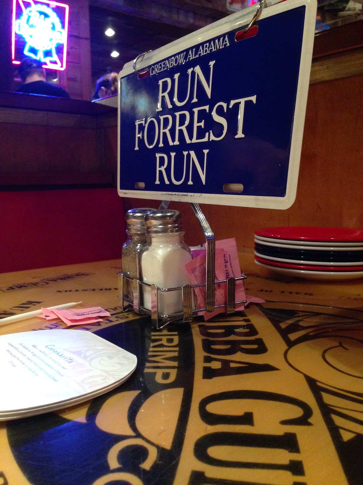 Run Forest Run table sign
