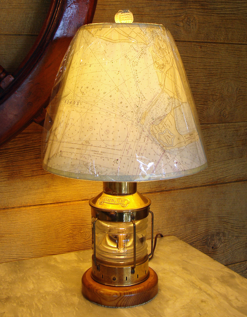 Custom Nautical Lamp Made Using A Vintage Brass Anchor Lantern. Light  Toggles Between Interior Ambiance Light, Upper Room Light Or Dual Lighting  Selections.