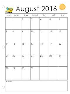 Calendar blank 2016