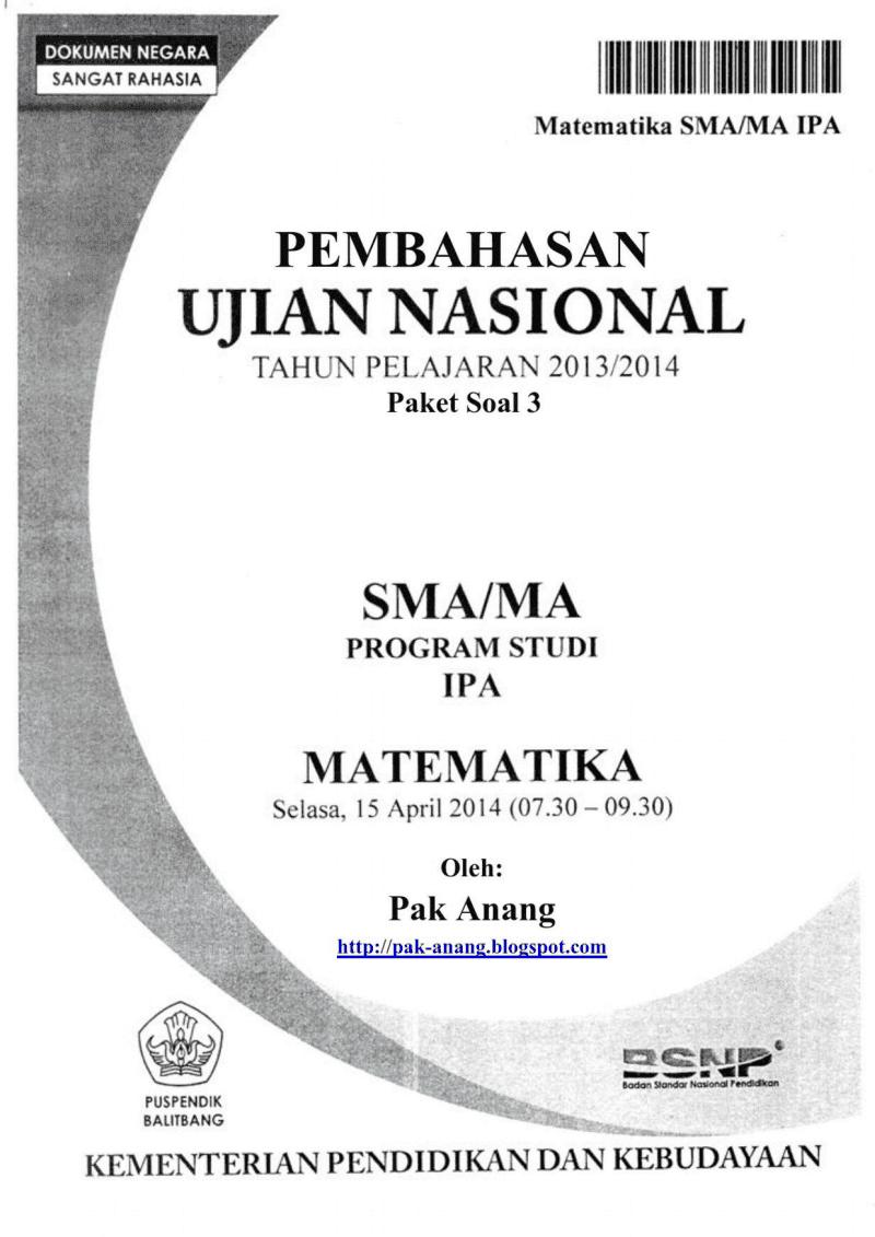 Pembahasan Soal Un Matematika Plan Ipa Sma 2014 (Trik Superkilat) (Paket 3)