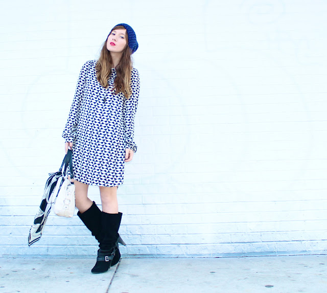 how to wear a bold print dress during winter