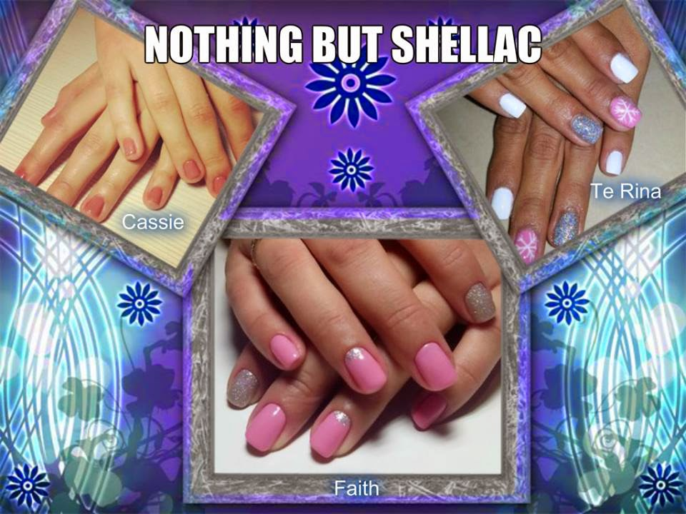 Multicolored mix acrylics and Shellac paint simple Shellac manicure simple nail art designs Lady Cave Needy Nails Taupo