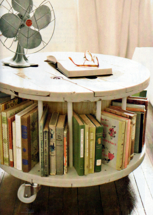 Sunflowers spears wooden cable spool table for Wooden reel furniture