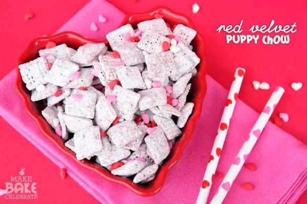 valentines red velvet puppy chow