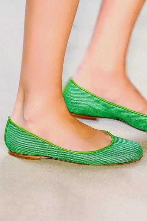 Green Flat Heel Design..