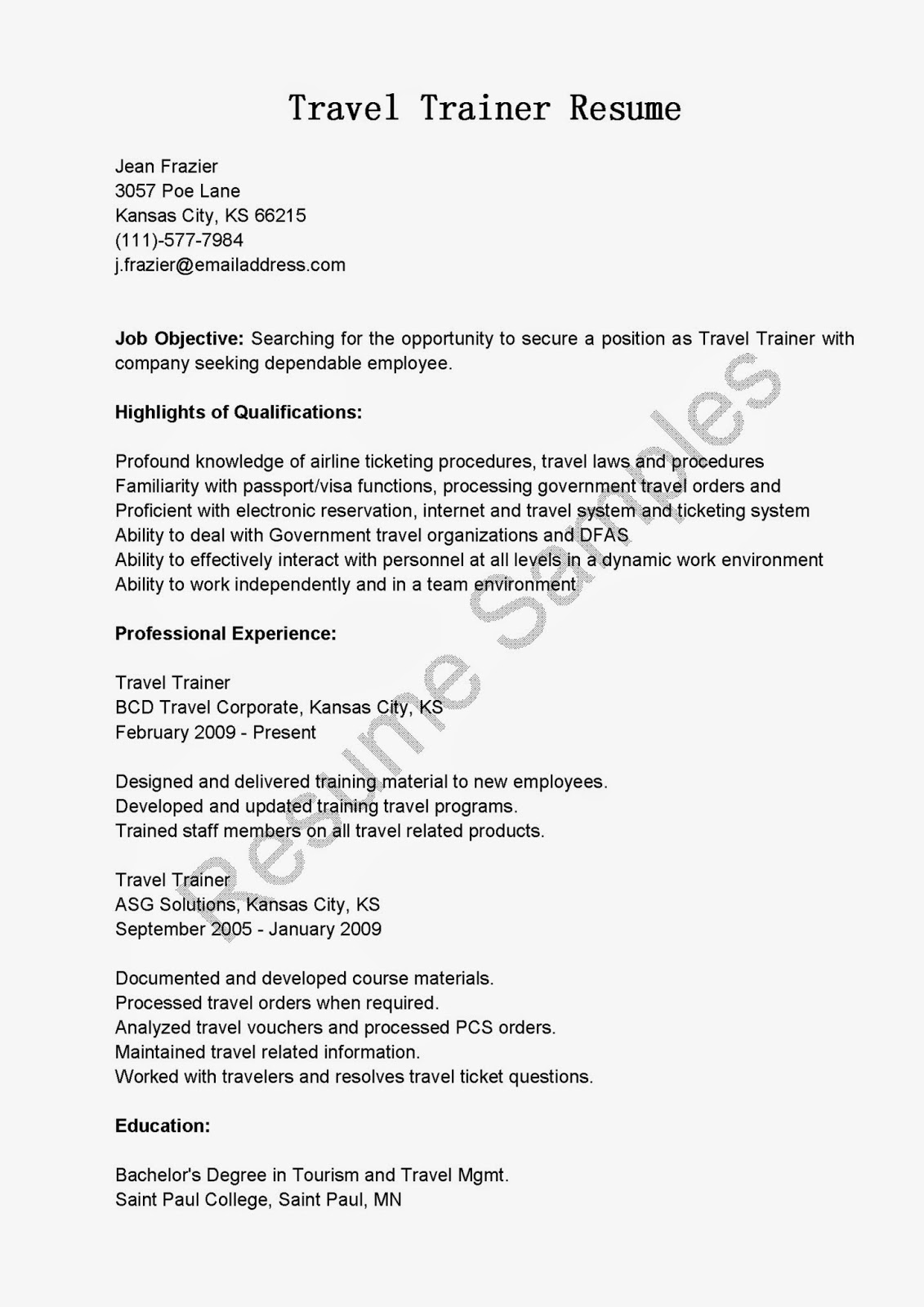 resume samples  travel trainer resume sample