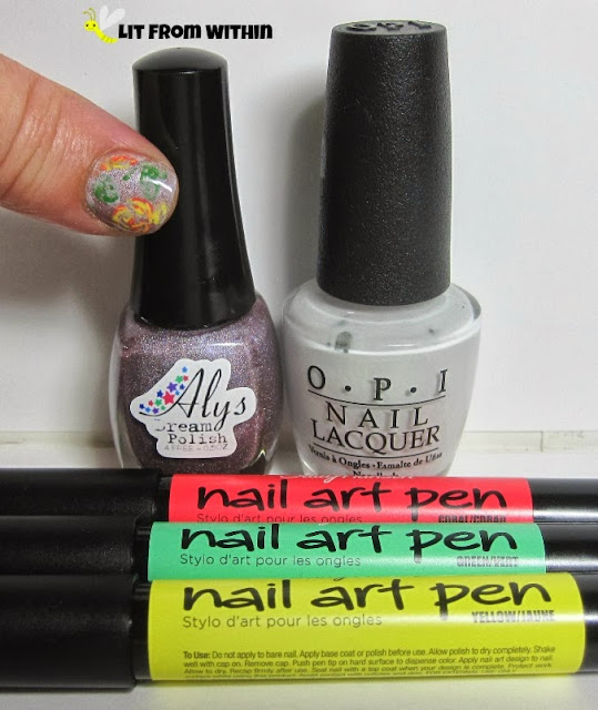 Bottle shot:  Aly's Dream Polish Prussian Purple, OPI My Boyfriend Scales Walls, Sally Hansen nail art pens in coral, green, and yellow
