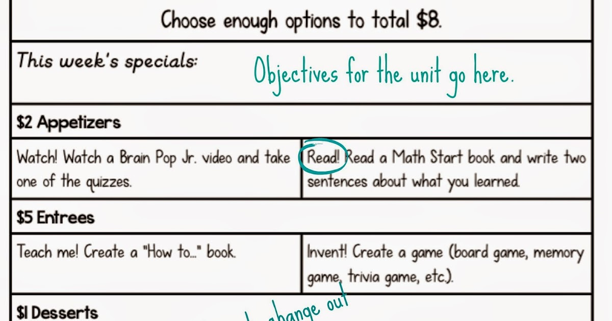The School Potato Math Menu An Alternative To Math Centers