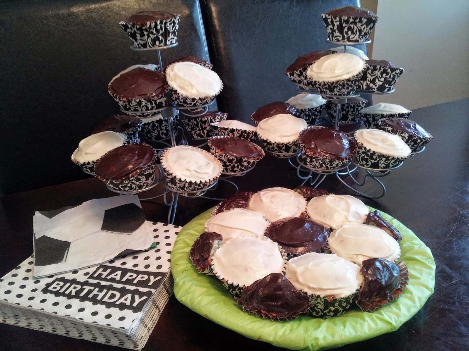 Soccer ball cake, cupcakes, soccer party, kids party, birthday party