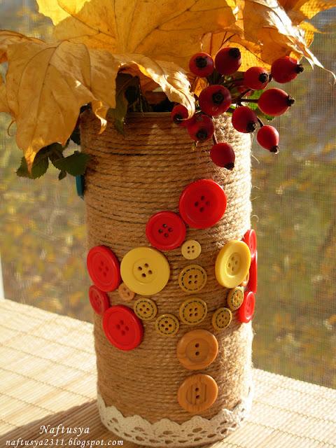 Нафтусины рукотворочки: Осенний декор - ваза для цветов
