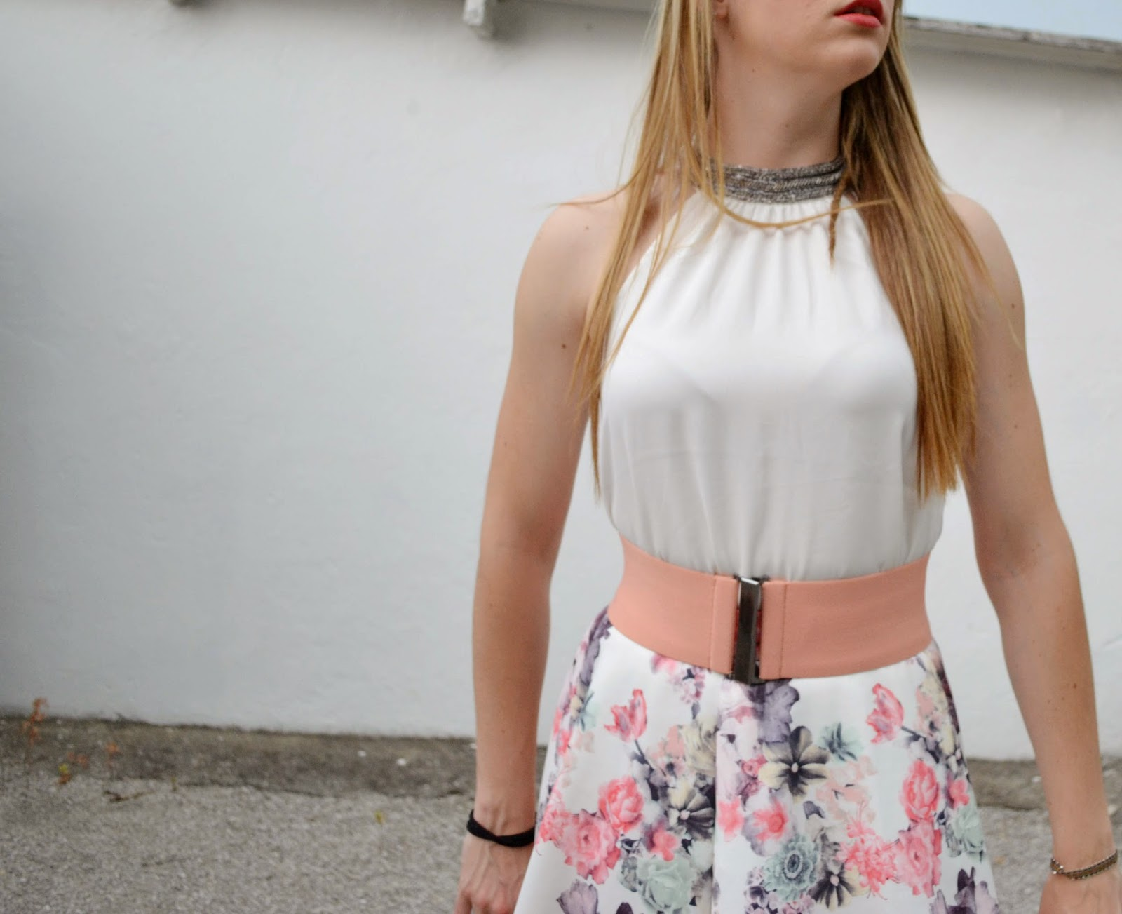 Floral floaty skirt, elegant white blouse