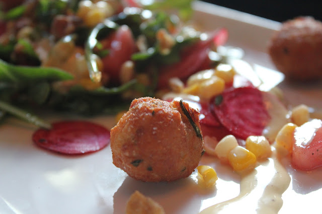 Crab cake nuggets with beet salad at Nix's Mate, Boston, Mass.