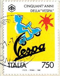 Il 50° anniversario della Vespa, in francobollo