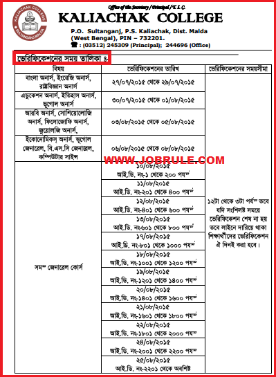 Kaliachak College Online Admission 2015-16 Merit List , Counseling & Document Verification Schedule Notice