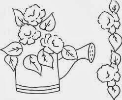 desenho de regador com rosas para pintar