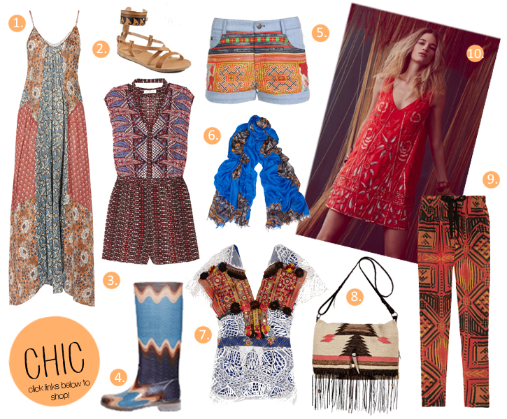 ethnic festival fashion, fringed festival bag, Free People, Thu Thu, Hmong shorts, One Vintage, crochet, Zimmermann festival dress, , ethnic print playsuit, Missoni wellies, Greek sandals by naUSICA, festival fashion 2012, tribal trend, tribal print trousers, ethnic bag, Nomad Chic