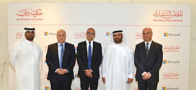 Senior officials from the Dubai government and Microsoft pose at the MoU ceremony for the creation of the Dubai font.