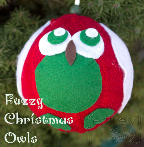 #NUO2012 Fuzzy Christmas Owl Ornaments