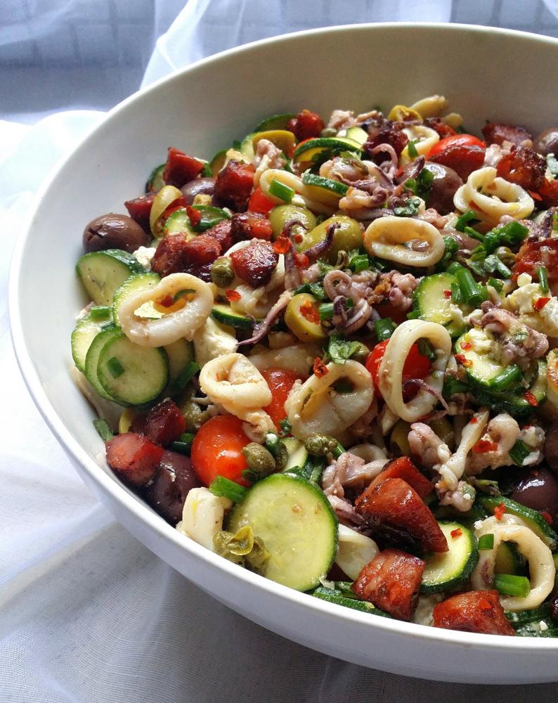 Low-Carb Mediterranean 'Pasta' Salad, but with Calamari | Scrumptious...