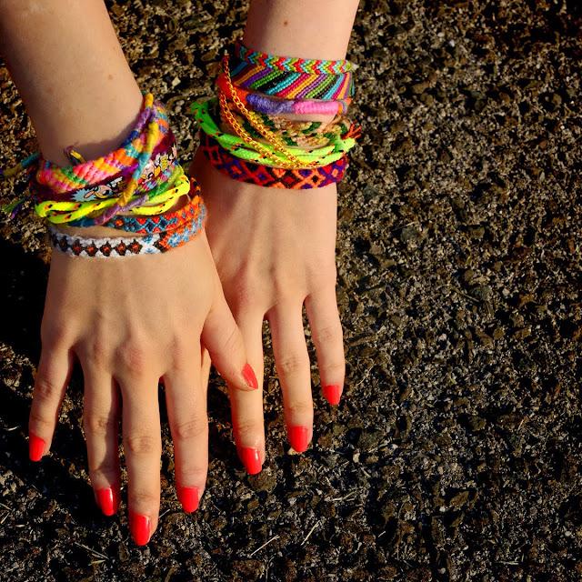 friendship bracelets outside on the pavement