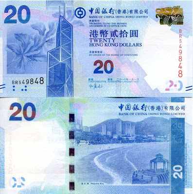 Hong Kong Bank of China 20 Dollars New Series