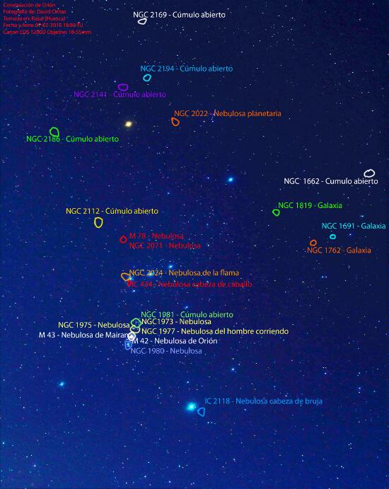 Constelacion de Orion - Objetos celestes - El cielo de Rasal