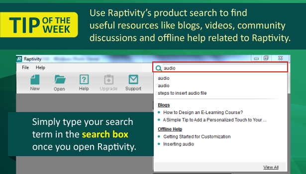 Tip of the Week: Looking for resources related to Raptivity?