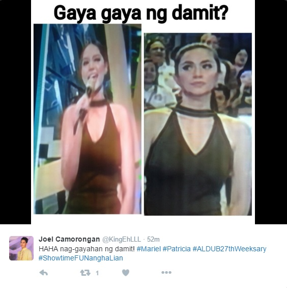 It's Showtime's Mariel and Eat Bulaga's Patricia wore the same dress?