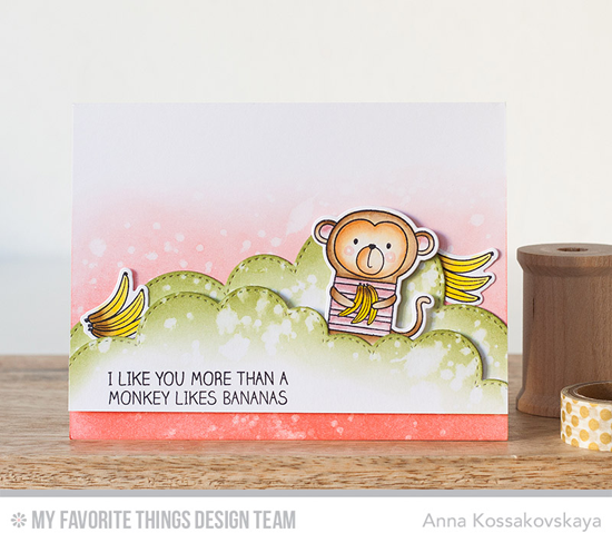 I Like You Monkey Card by Anna Kossakovskaya featuring Cheeky Monkey stamp set and Die-namics and Stitched Cloud Edges Die-namics #mftstamps