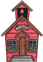 red cartoon schoolhouse