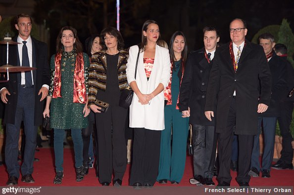 Pierre Casiraghi, Princess Caroline of Hanover, Princess Stephanie of Monaco, Pauline Ducruet, Louis Ducruet and Prince Albert of Monaco attend the 40th international circus festival on January 19, 2016 in Monaco, Monaco.