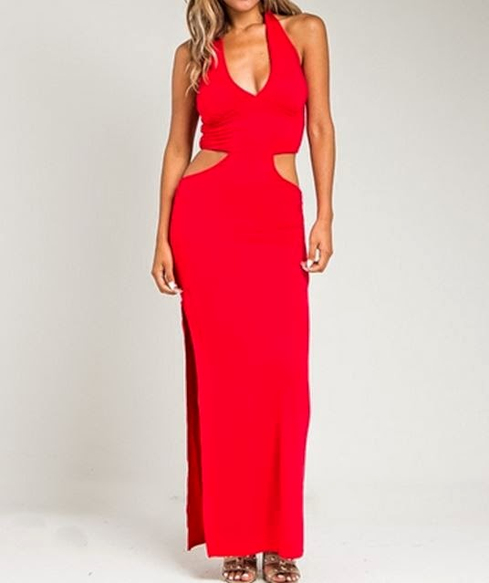 red cutout halter maxi dress
