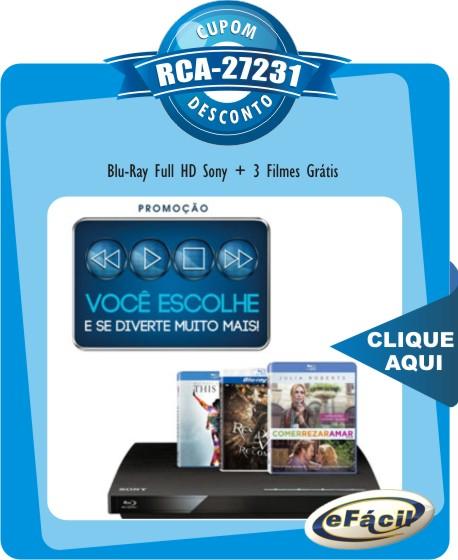 Cupom Efácil - Blu-Ray Full HD Sony BDP-S190, Grátis 3 Filmes