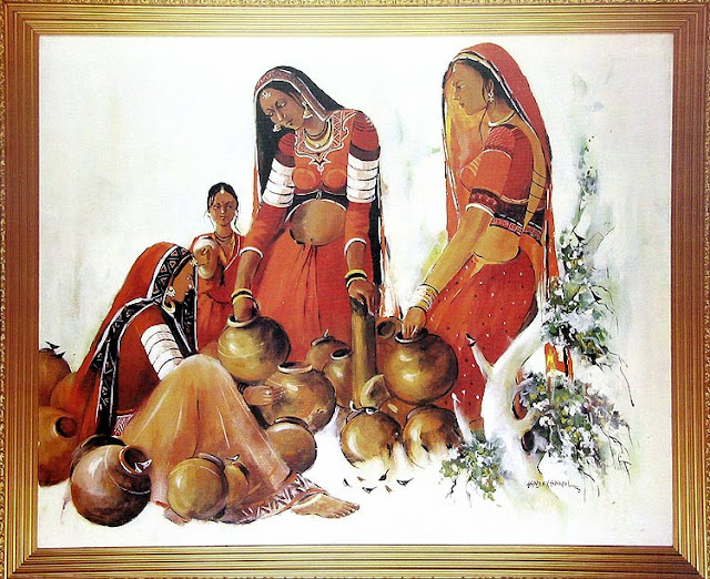 Indian Art Paintings: Rajasthani Girls 1