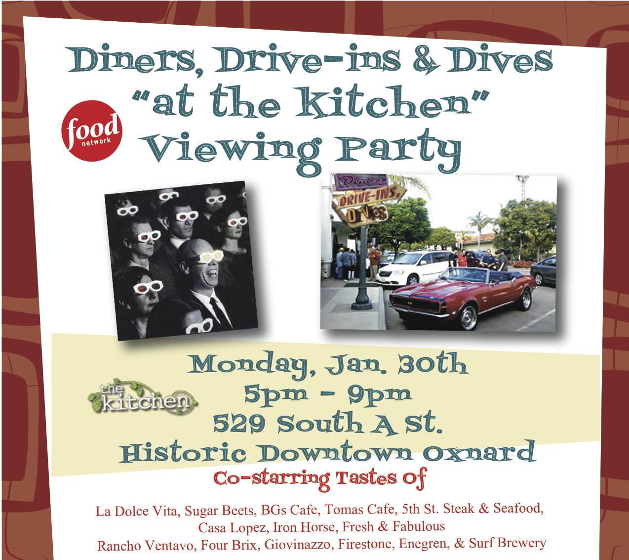 Taste N Trip: Diners, Drive-ins & Dives Viewing Party at The Kitchen