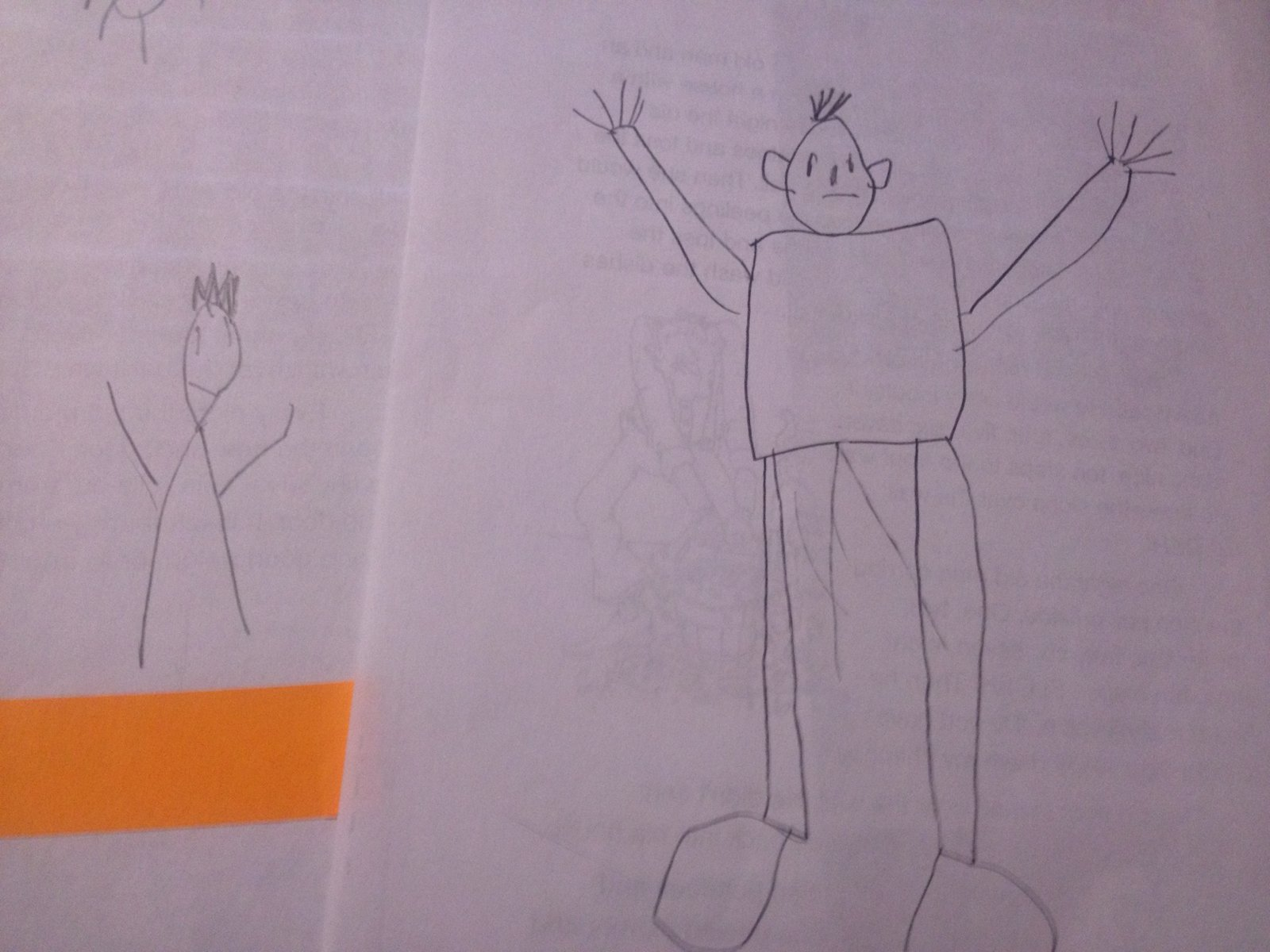 I Had A First Gradere In And I Asked Him To Draw Me A Person He Did  It Was The One On The Left With The Orange Strip (which Hides His