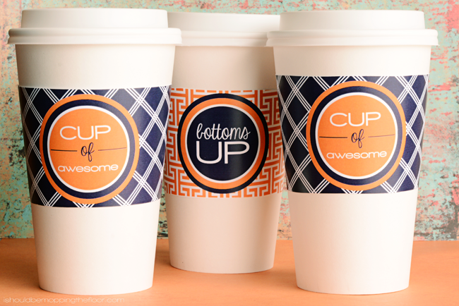 Free Printable Coffee Cup Wrappers | Two Deigns | Instant Downloads