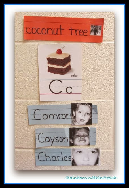 Word Wall in Preschool with Student Names