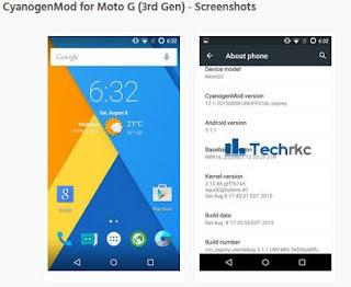 CyanogenMod 12 ROM For Motorola Moto G (3rd Gen) 2015