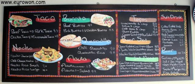 Menú del restaurante mexicano Taco Rico