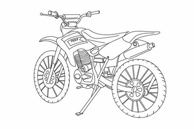 دراجة نارية بصورة للتلوين