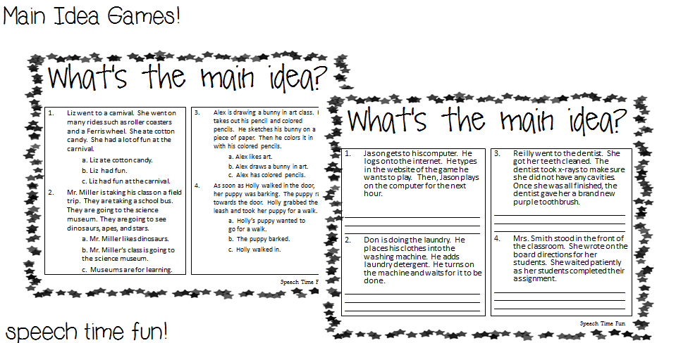 Main Idea Games – Kindergarten Main Idea Worksheets
