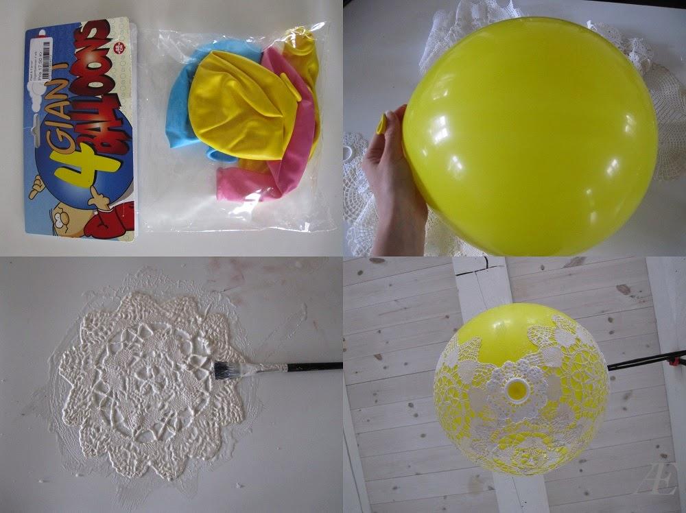 Balloner, stor, rund, gul, til diy blonde lampe, doily lamp,