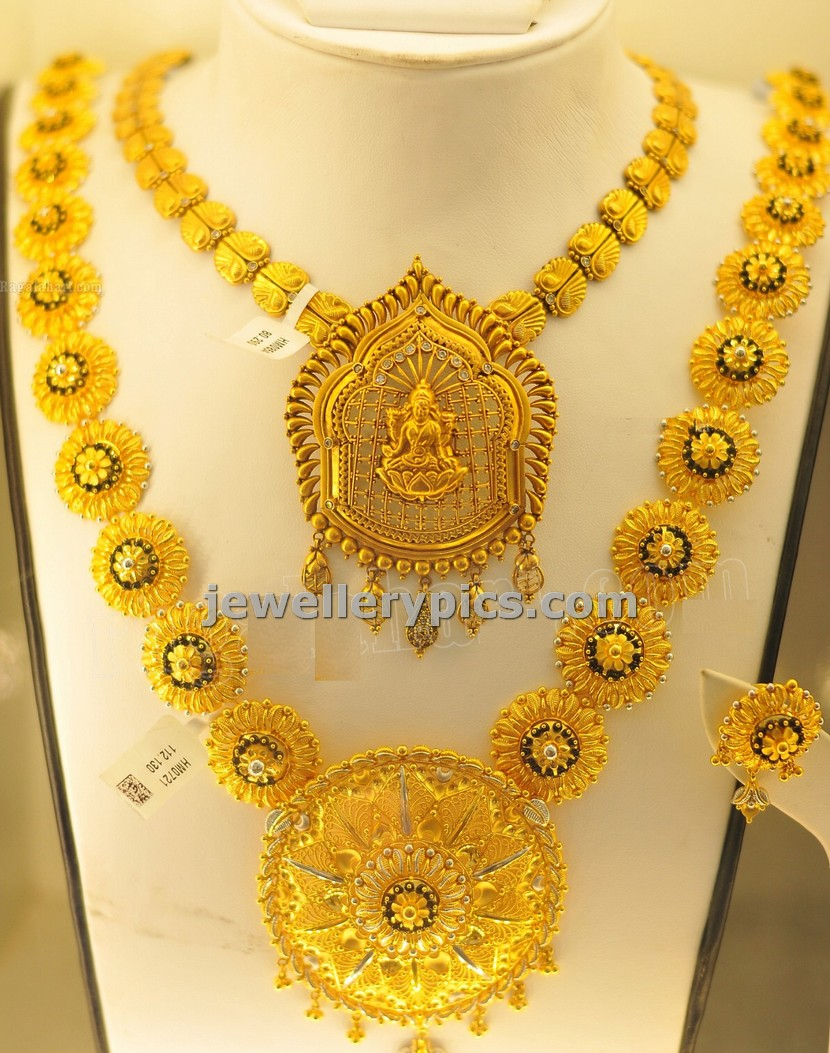 set necklace karat plain antique products classic gram in griiham finish gold filigiri chains collection copy inches floral of pattern kolkata long design