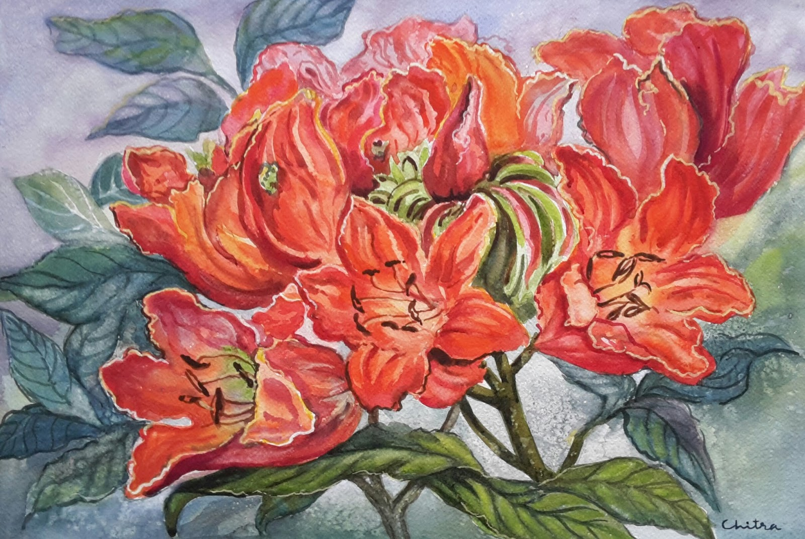 My Beautiful World Of Paintings And Students Flower Painting