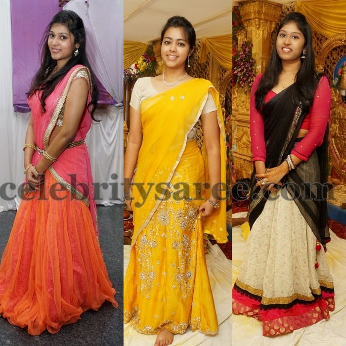 South Girls in Silk Chiffon Half Saris